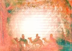 Watercolour Christmas Magi Paper Stock Illustration