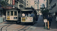 San Francisco 1977: cable cars in the street Stock Footage