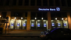 Deutsche Bank headquarter at night Stock Footage