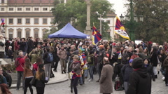 Czech citizens after meeting of visit Dalai Lama to Prague Stock Footage