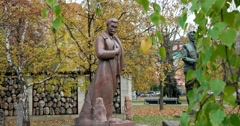 "The Stalin monument  is located in the Park of arts ""Muzeon"" in Moscow. Stock Footage"