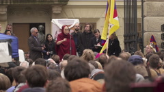 Dalai Lama 14th speak to Czech citizens  during a visit to Prague Stock Footage