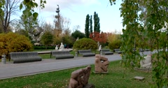 Sculptures of different eras in the Museum under the open sky Stock Footage