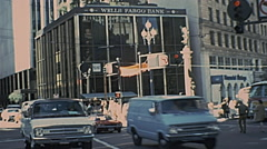 San Francisco 1977: traffic in front of Wells Fargo Bank Stock Footage
