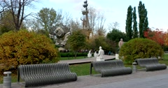 The Park of sculptures of different eras, a unique Museum under the open sky Stock Footage