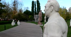 The Soviet leaders  came to the Park, the sculptures of Lenin, Brezhnev Stock Footage