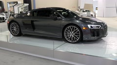 Audi R8 V10 Plus coupe on display during the Miami International Auto Show Stock Footage