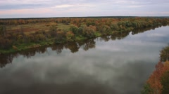 Aerial shot autumn forest and river Stock Footage