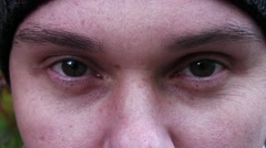 Man With Wrinkles Under The Eyes Looking At The Camera  Stock Footage