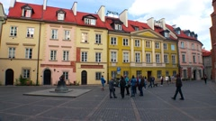 Old town Warsaw in Poland - old cracked bell from the cathedral now in a town Stock Footage