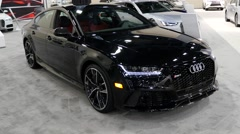 Audi RS7 sports sedan on display during the Miami International Auto Show Stock Footage