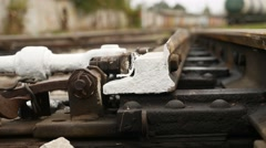 Railroad old rails bottom view of the movement Stock Footage