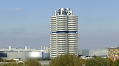 4K BMW Museum building at Olympia Park Munich Germany Europe Stock Footage