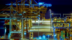 4K trading port night timelapse,industrial activity,logistics Stock Footage