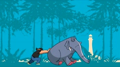 Cartoon strong man pushes and moves the elephant Stock Footage