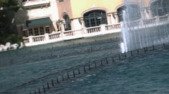 Bellagio Fountains Water Show Daytime Tight Side View in Slow Motion Stock Footage