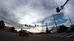 POV point of view - Driving on the street during the sunset hour. Stock Footage