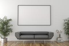 Blank picture frame in empty room with sofa Stock Illustration