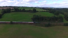 Aerial tacking shot of a steam train. Stock Footage