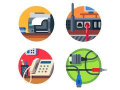 Office equipment set Stock Illustration