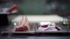 Spare pork ribs and red onions Stock Footage