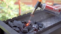 Burning wood in a brazier. Fire, flames. Grill or barbecue. Slo-mo Stock Footage