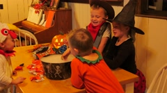 Happy children on halloween night at home Stock Footage