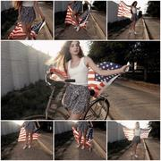 Young girl holding americam stars and stripes flag in her hands outdoor collage Stock Photos