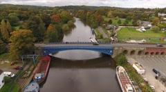 Aerial view of Stourport bridge. Stock Footage