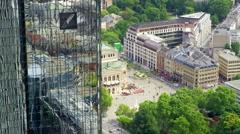 Frankfurt Deutsche Bank Aerial 4k Footage Stock Footage