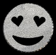 Big silver glitter  face with heart-shaped eyes Stock Illustration
