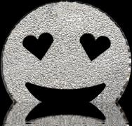 Big silver smiling face shining with heart-shaped eyes on the water Stock Illustration