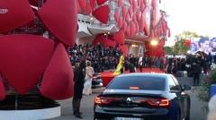 Top models Barbara Palvin, Anna Safroncik posing in front of cameras red carpet Stock Footage