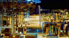 4K trading port night timelapse,industrial activity,logistics Stock Footage