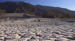 Zoom in, dry lake bed and clay pan Stock Footage