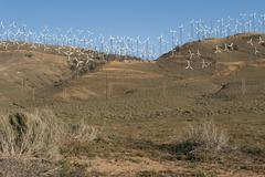Wind farm in an arid region of California, USA Stock Photos