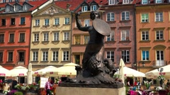 Mermaid, sirena on the market square in Warsaw. Poland. 4K. Stock Footage