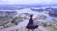 Female traveler on panoramic point Stock Footage