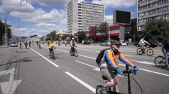 People take part in Bike Parade on June 29, 2014 in Moscow Stock Footage
