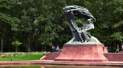 Frederic Chopin Monument in Warsaw. Poland. 4K. Stock Footage