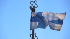 Finland flag on background of the sky Stock Footage