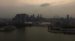 HD Aerial Footage Of Singapore Marina Bay And City Skyline at Dusk. Stock Footage
