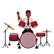 Handsome African male drummer playing drums Stock Illustration