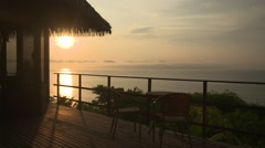 Balcony at the  luxury hotel at sunset - Costa Rica Stock Footage