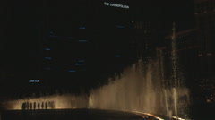 Bellagio Fountains Water Show Nighttime Side View in Slow Motion Stock Footage