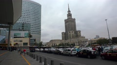 Palace of Culture and Science in Warsaw, Poland.  4K. Stock Footage