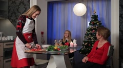 Family celebrating Christmas together at home Stock Footage