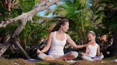 Family yoga exercises Stock Footage