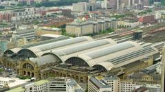 Frankfurt Main Station Aerial 4k Footage Stock Footage