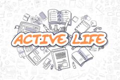Active Life - Cartoon Orange Word. Business Concept Stock Illustration